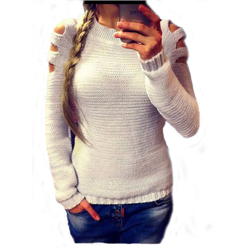 2017 Women Off Shoulder Knitted Sweater Autumn O neck Long Sleeve Pullover Loose Casual White Knitwear