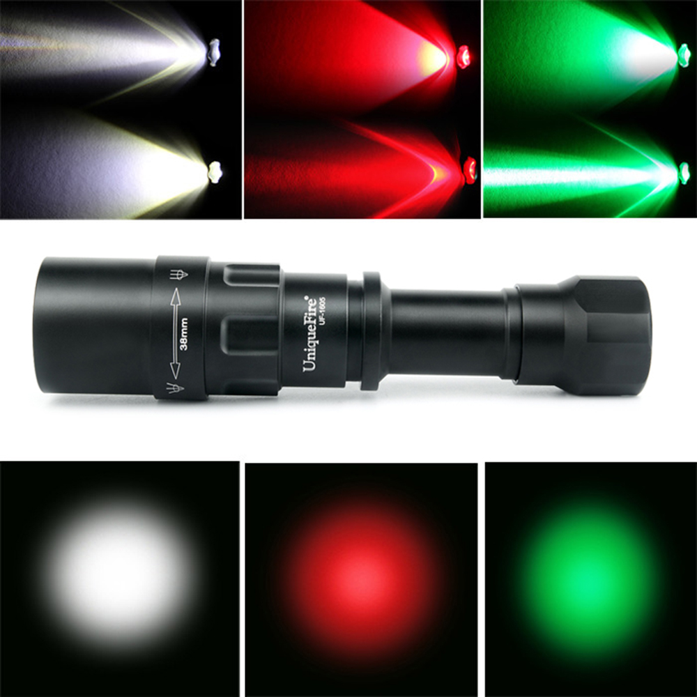 UniqueFire 1605 CREE XRE LED Flashlight Outdoor 3 Modes Zoomable Tactical Hunting Torch 38mm Convex lens Lanterna Rechargeable uniquefire 1503 led flashlight cree xre green red white light led torch 50mm convex lens 3 mode for camping