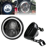 OTBS 60W 7 Motorcycle Accessories Headlight 7 inch Led Headlamp Housing Bracket For Harley Chopper Cafe Racer Bobber Curisers