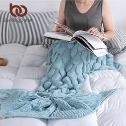 BeddingOutlet Fio Artesanal de Malha de Cauda de Sereia Cobertor para Adulto Crianças Jogar Envoltório Cama Super Macio Crochet Cobertor Quente 3 Tamanhos