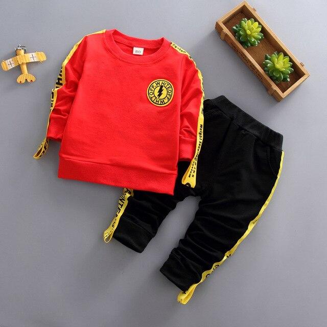 c49a758a9faf0 BibiCola 2018 autumn children boys clothes sport style sweatshirt+pants outfits  child kids cotton letter