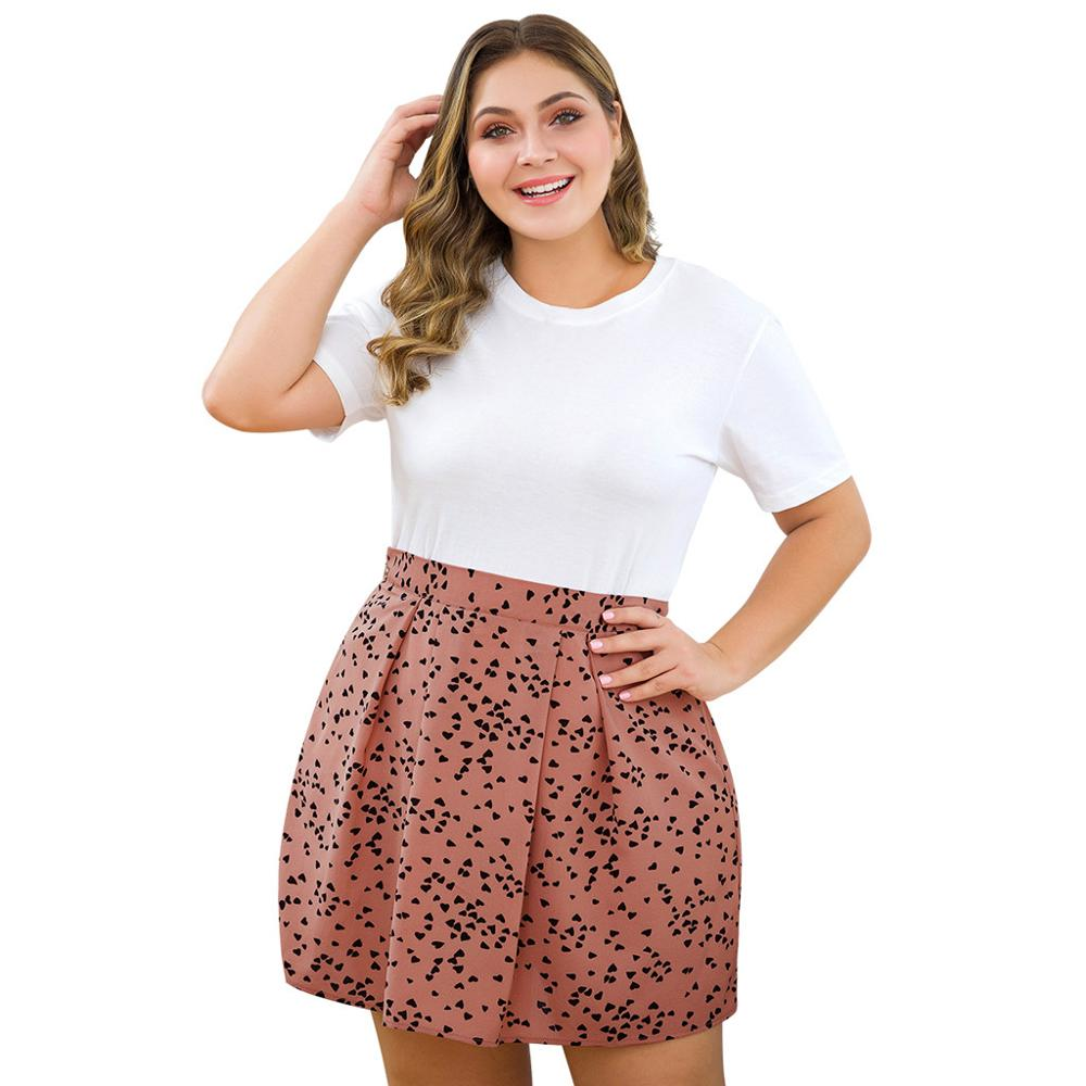 Women's Casual Plus Size High Waist Peach Heart Print A Word Skirt Women  Summer 2019 Sexy And Club #4j04