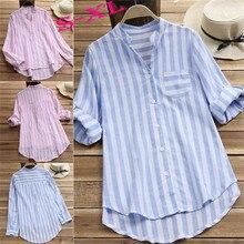 купить Summer Womens Striped Baggy Blouse Ladies Casual Loose Tunic Tops Size S-XL дешево