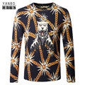 Chinese style gold chain tiger pattern personality men sweater 2016 Autumn&Winter  fashion quality pullover sweater men M-4XL