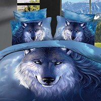 WARM TOUR 4PCS 3D Blue Wolf Bedding Sets Thread Count 100% Polyester Duvet Cover Sets Christmas Gift Home Decoration