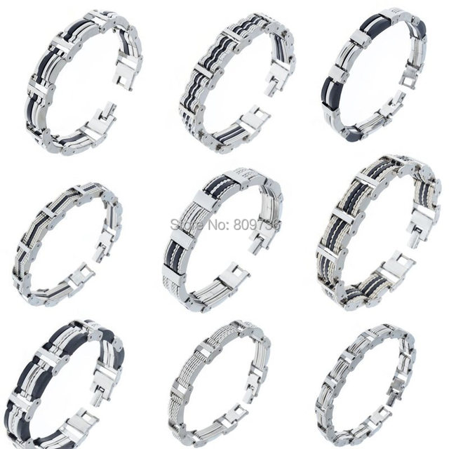 16 Styles Mens Chain Link Wristband Bangle Cuff 316l Stainless Steel Bracelet Rubber Silver Tone Men