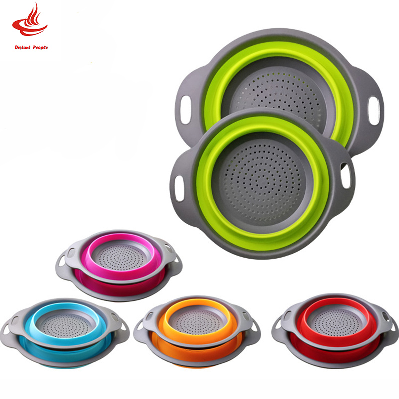 1Pc Silicone Folding Drain Basket 5 Colors Creative Retractable Silicone Fruit Vegetable Colander  Kitchen Storage Gadgets(China)