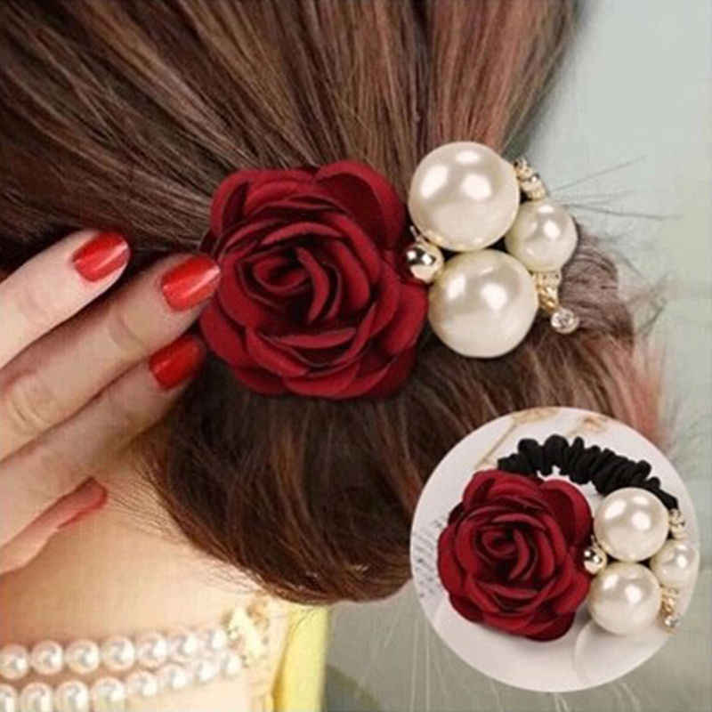 Girls Satin Big Rose Three Pearls Decor Elastic Hairbands Ponytail Headband Fashion Pearl Flower Hair Bands for Women