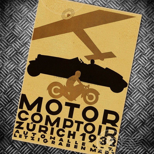 Motor car airplane Vintage poster Retro wall art sticker painting ...