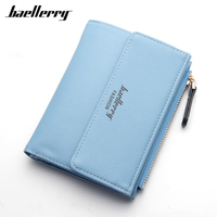 High Quality PU Leather Wallets Women Lovely Letter Priting Zipper Clasp Coin Pocket Short Purse Clutch