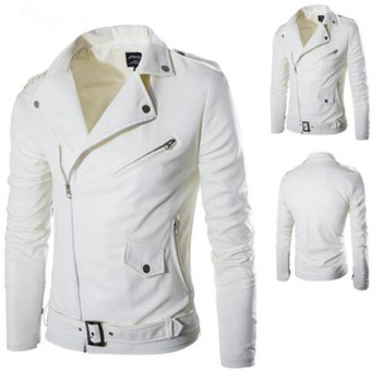 2018 Foreign Trade New Fashion Men's Slim Diagonal Zipper Male Leather Motorcycle Jacket Men White Leather Jacket Causal Outwear