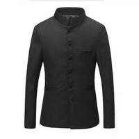 New Doudoune Homme Black Chinese Collar Suit Jacket For Men New Mandarin Slim Fit Blazers Male Wedding Suit Jackets Custom