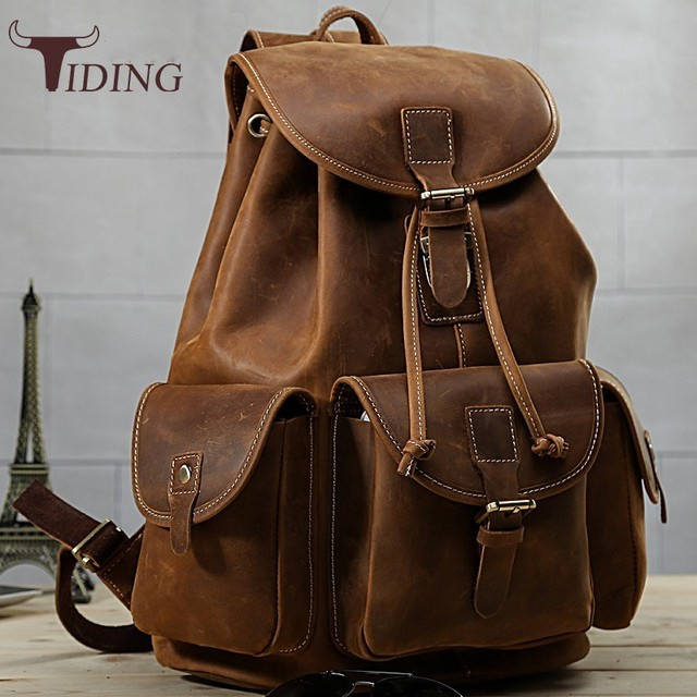 Tiding New Luxury Italian Cow Leather Mens Travel Backpack Vintage Soft Solid String Rucksack Overnight Weekend