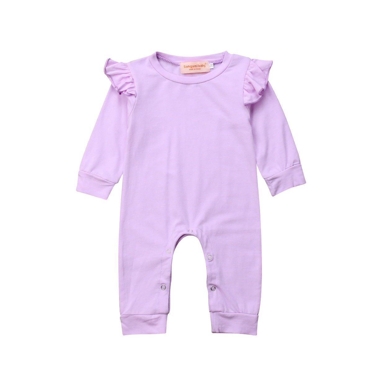 54fe2a5b4 Toddler Newborn Baby Girl Romper Solid Purple Ruffles Long Sleeve Infant  Girls Jumpsuit Playsuit Autumn Baby Girl Clothing | AMAZINGSTORE4U