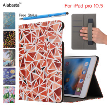 2017 New Case for iPad pro 10.5 inch PU Leather Front Cover Ultra Slim Lightweight Tri Fold Smart Cartoon painting Case