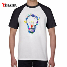 Summer T Shirts 3D Print Hipster Painted Light Bulb Graphic Tees Men Women Casual Tee Couple White Short Sleeve Unisex Tops цена