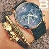 Luxury Brand Swiss BINGER Men Stainless Steel Sapphire Luminous Gold Quartz Watches Hunter Series Calendar Stopwatch