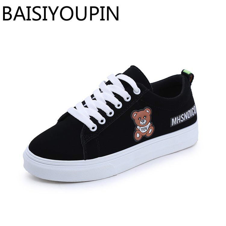 2018 Spring New Women's Causal Shoes Black Board Shoes for Student Flats Shoes Lace Up Bear Vulcanized Shoes Female Breathe Shoe