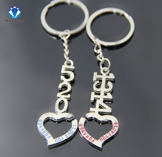 f4bcf229df8 US $1.03 49% OFF|1Pair Couple Keychain 520/1314 Heart Key Ring Silver  Plated Lovers Love Key Chain Souvenirs Valentine's Day gift C368-in Key  Chains ...