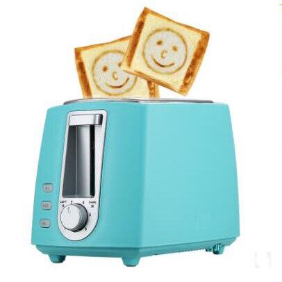 DWMD электрический тостер из нержавеющей стали Бытовая Автоматическая хлебопечка машина для завтрака тост Сэндвич Гриль духовка 2 ломтика - Цвет: blue with smile