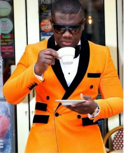 Hot Selling Suits Double Breasted Mannen Wedding Suits Geel Jas + Zwarte Broek Party Prom Smoking Bruidsjonkers Kostuums Bruidegom tuxedos - 2