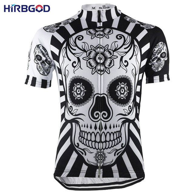 HIRBGOD Flower Skull Print Mens Cycling Jersey Short Sleeve Summer You  Never Ride Alone Bike Shirt Clothing Shirt maillot-HK044 2b149a2c0