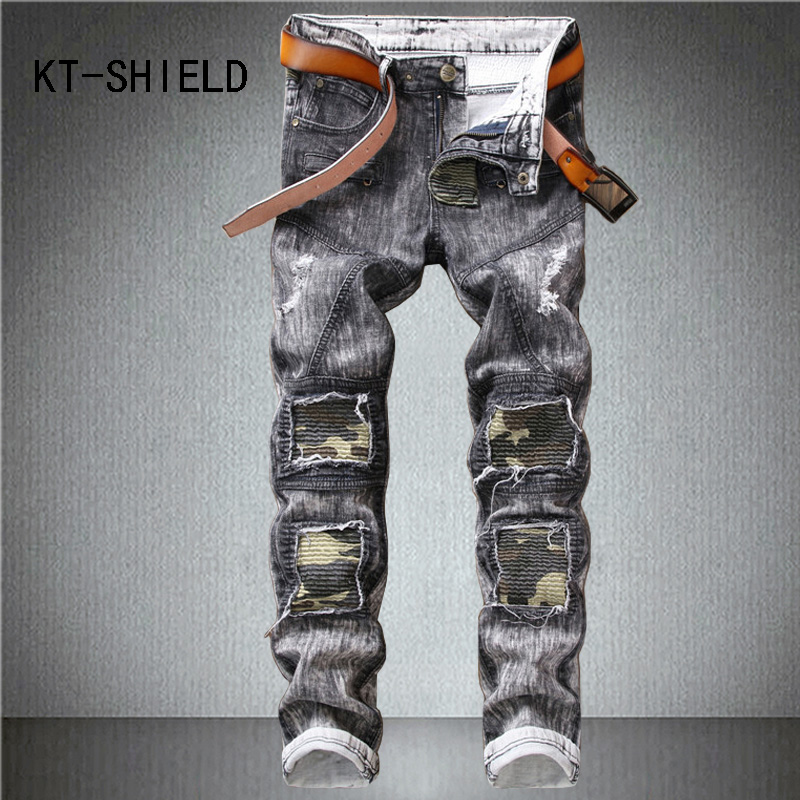 Camouflage pants men casual cargo cotton trousers camo hombre Brand Slim straight denim homme biker motorcycle ripped jeans