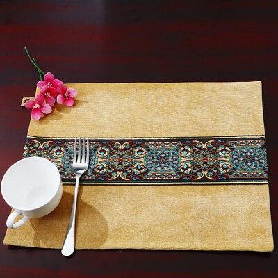 Лоскутный с вышивкой кружевное китайские столовые приборы стол колодки Статуэтка винтажный Европейский стиль бархатная ткань Настольный коврик - Цвет: Цвет: желтый