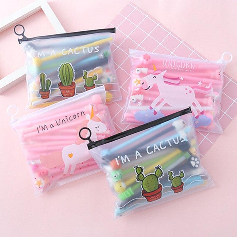 20 pcs set gel caneta unicornio lapices flamingo caneta boligrafo estacionario bonito material escolar canetas papelaria