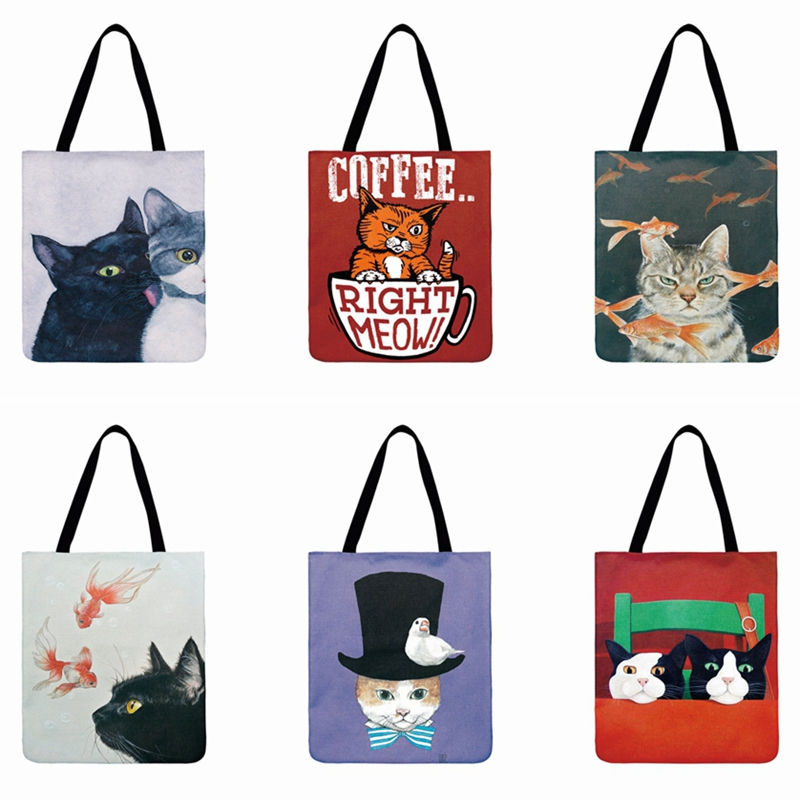 Lovely Cat Printed Casual Tote Linen Fabric Beach Bag Cartoon Meow Illustration Tote Bag For Women Reusable Shopping Bag