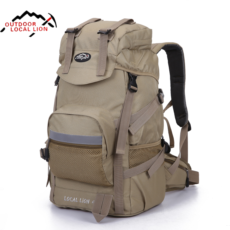 Local Lion Outdoor Camping Bag Waterproof Ultralight Hiking Internal Frame Backpack Men Rucksack Free Shipping 50*24*35cm free shipping professional waterproof rucksack internal frame climbing camping hiking backpack mountaineering bag 60l