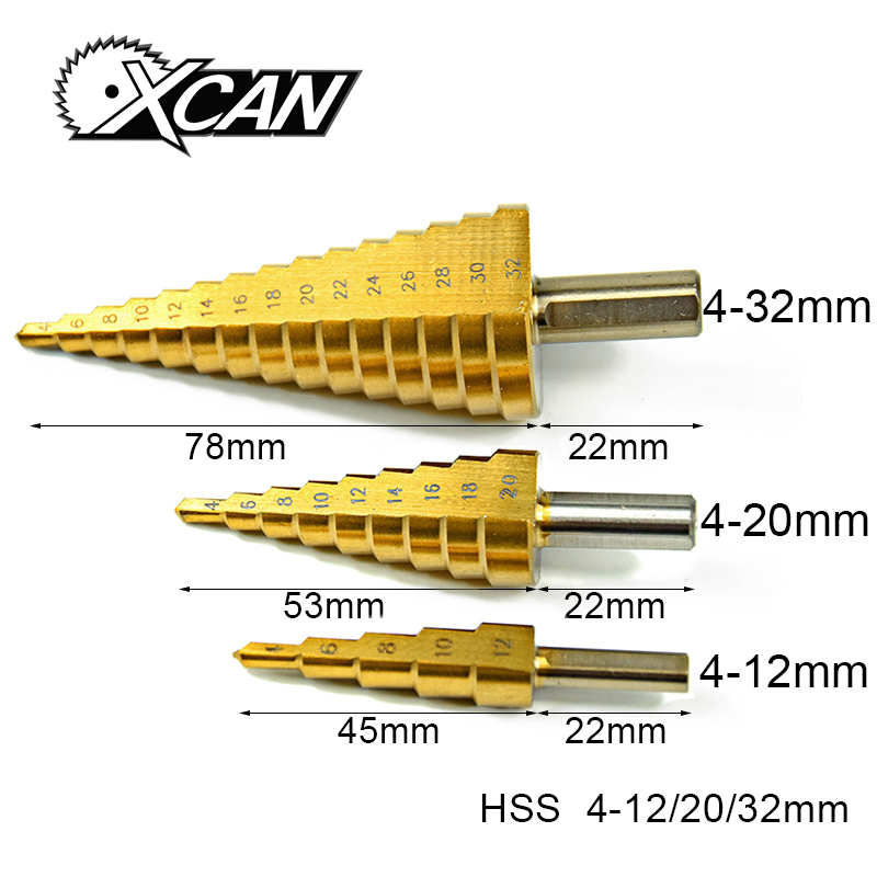 3Pcs Metric Spiral Flute The Pagoda Shape Hole Cutter 4-12/20/32mm HSS Steel Cone Drill Bit Set HSS Steel Step Sharpening