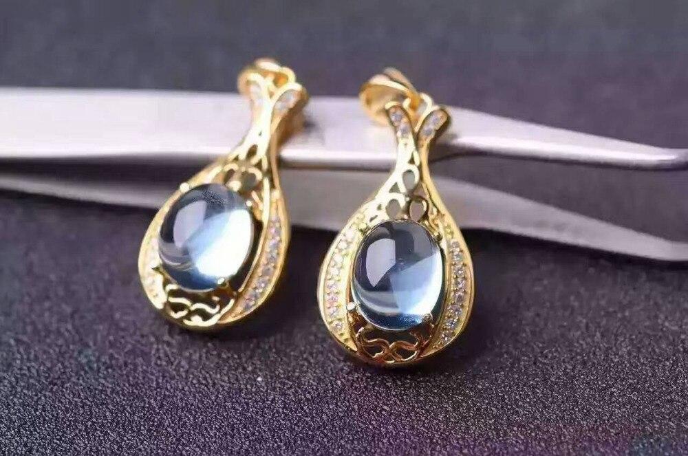Здесь продается  natural  light blue topaz pendant S925 silver Natural gemstone Pendant Necklace trendy Elegant Lucky bottles women party jewelry  Ювелирные изделия и часы