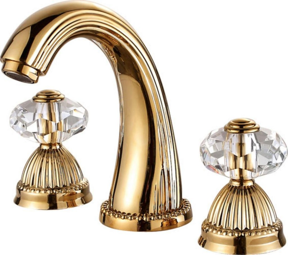 Free shipping PVD GOLD WIDESPREAD LAVATORY BATHROOM SINK ...