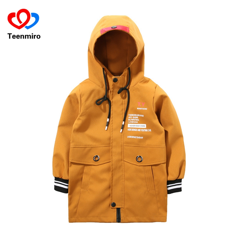 New Children's Coats for Boys Spring Jackets Fashion Kids Long Outerwear Letter Print Hoodie Boy Clothes Teenager Trench Coat 4T