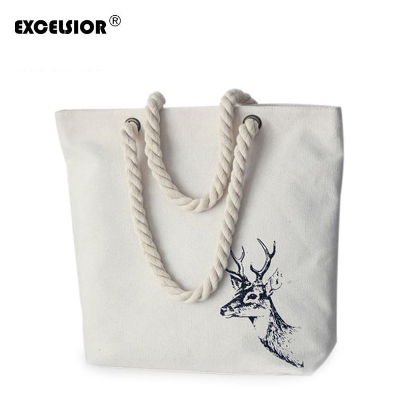 EXCELSIOR Marcas Famosas Bolsos de Mujer Literatura Impresión de Lona Totalizador Femenino Casual Bolsos de Playa Bolsos de Hombro Tote Bag G0962