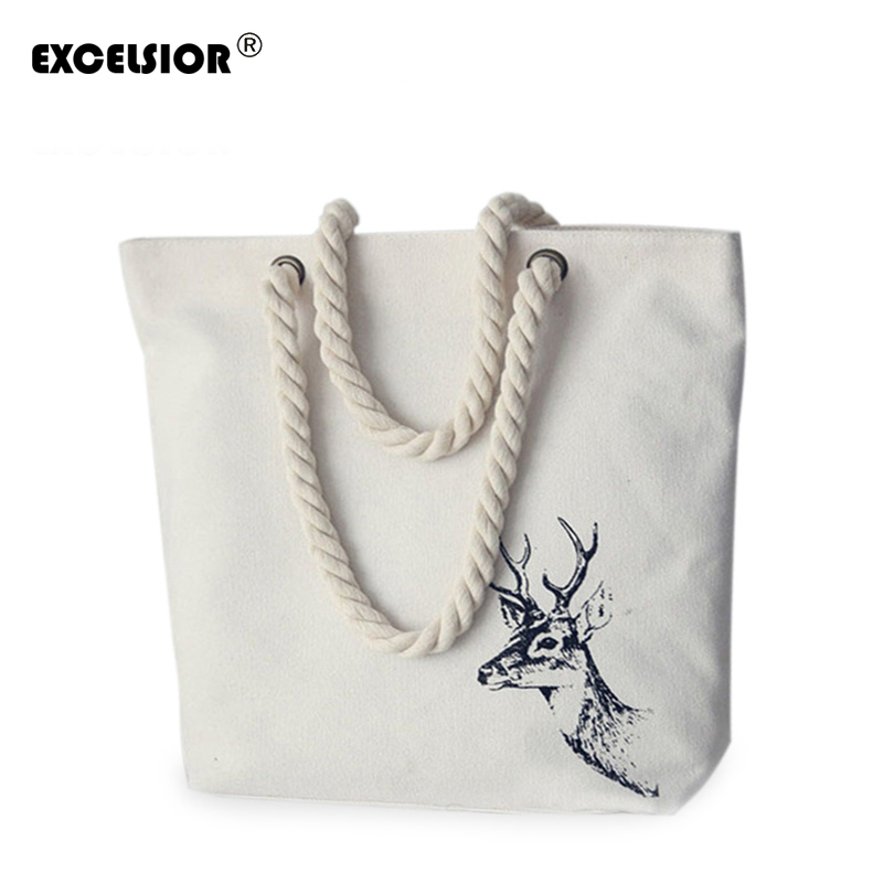 EXCELSIOR Famous Brands Women Handbags New Literature Printing Canvas Tote Female Casual Beach Bags Handbags Shoulder Tote Bag