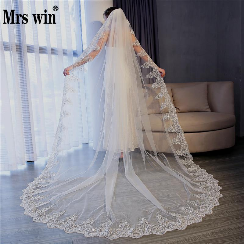 5 Meter Pure White Cathedral Wedding Veils Long Lace Edge Luxury Church Bridal Veil With Comb Wedding Accessories Customize C