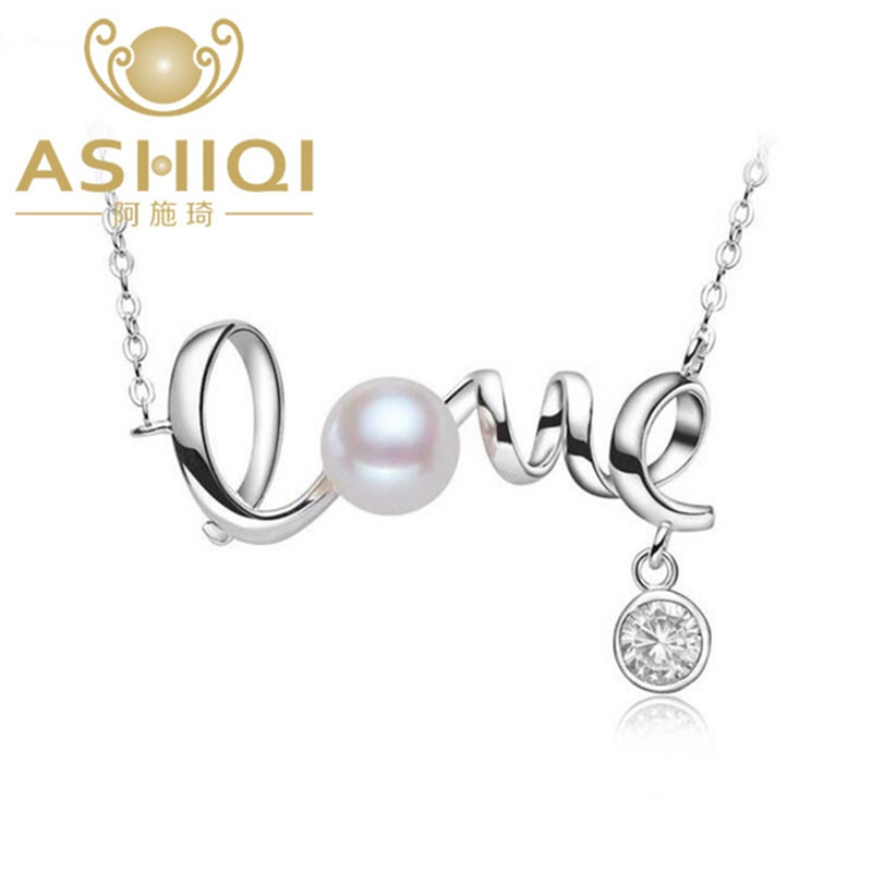 ASHIQ White Natural pearls Freshwater Pearl Necklaces & Pendants, 925 Sterling Silver Jewelry for women Love letter delicore white letter
