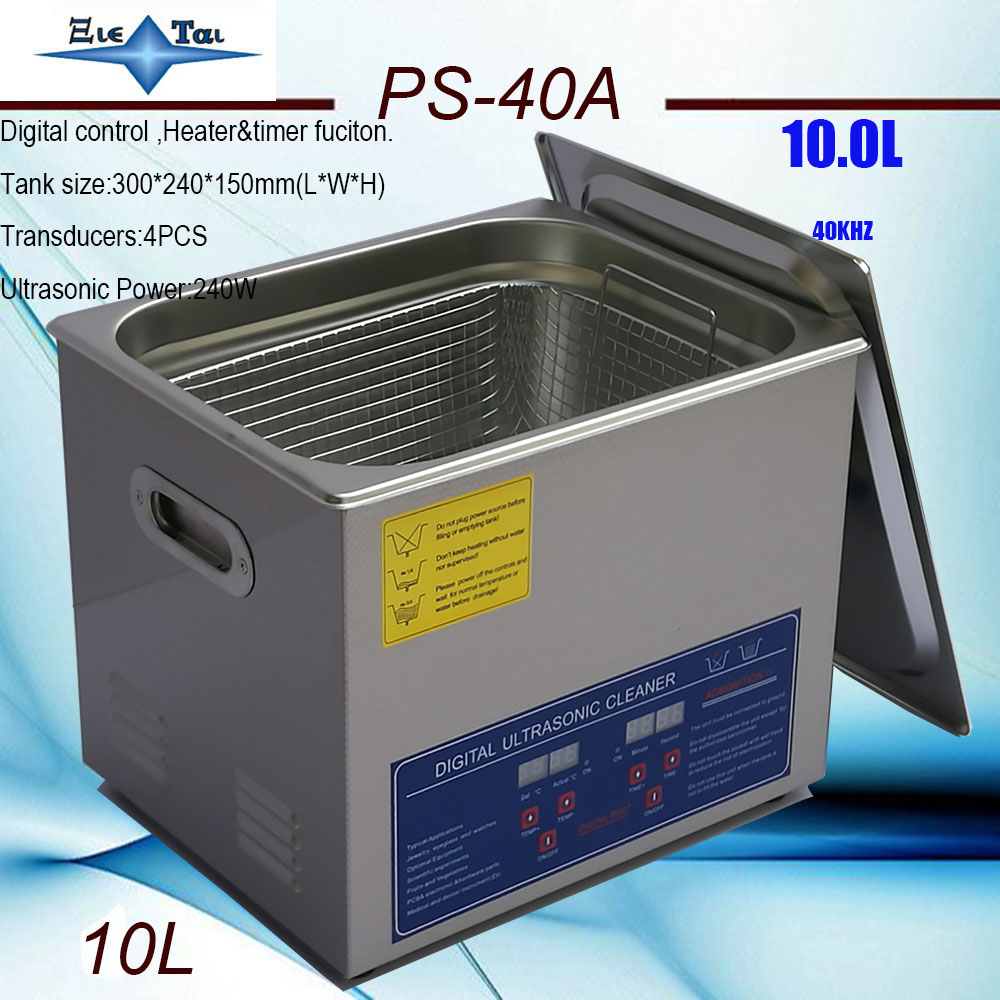 Local Free Shipping EU RU AU AC110/220 Ultrasonic Cleaner 10L PS-40A Digital Timer & Heater  Hardware Parts
