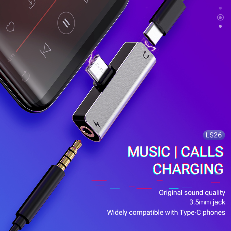 Hoco Audio Converter Type-C To 3.5 Jack 2 In 1 Charger AUX Splitter Portable USB C Earphones Dongle Headphone Adapter Audio