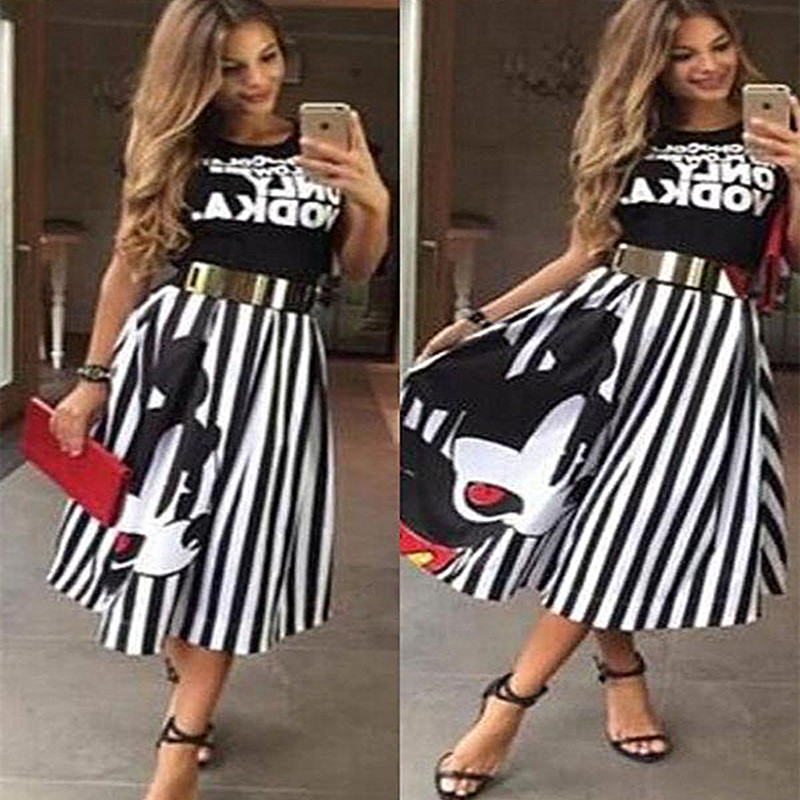 ATKULLQZ Women's Skirt Clothing Elegant Long-Section Stripe Mouse Boutique New-Style