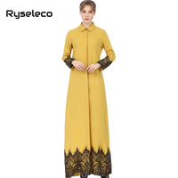 Vintage Middle East Women Straight Shirt Loose Dresses Button Up Floral Lace Patchwork Muslim Casual Long