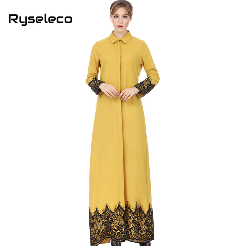Vintage Middle East Women Straight Shirt Loose Dresses Button Up Floral Lace Patchwork Muslim Casual Long Maxi Vestidos caftan
