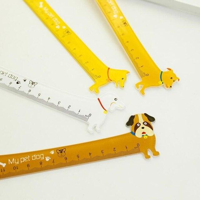 """1 sztuk/partia Kawaii długi pies projekt 15 cm z tworzywa sztucznego linijka prosta śliczne studentów """"narzędzia DIY nagroda dobrej jakości HY globalny hurt"""