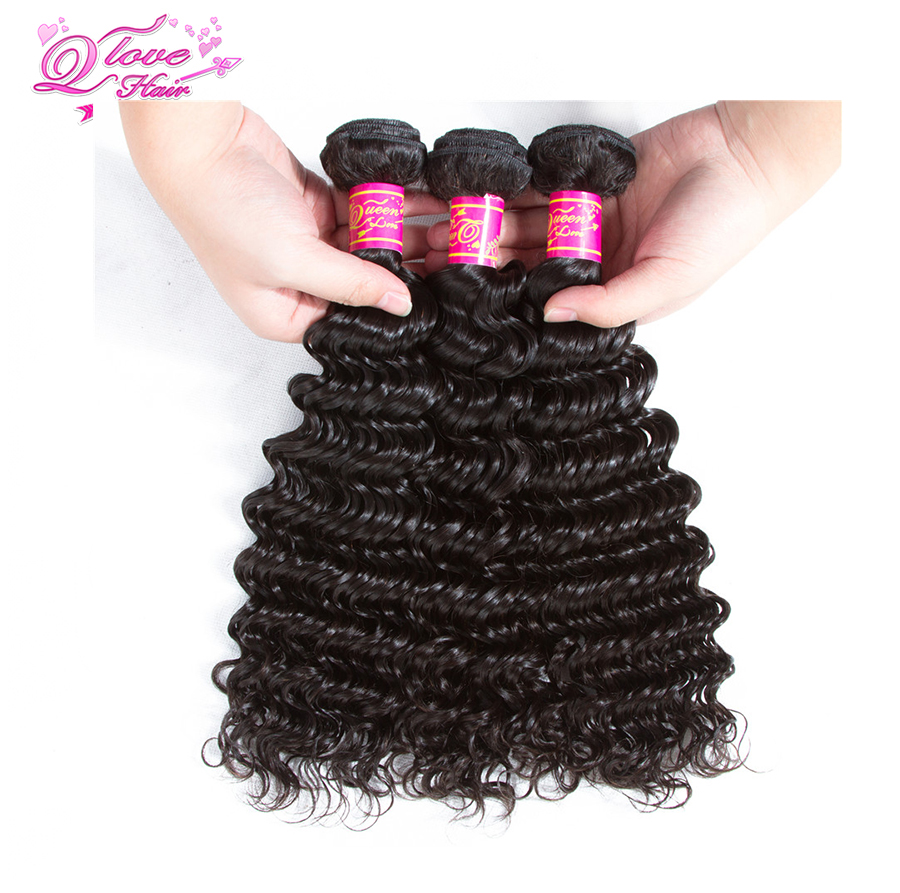 Queen Love Hair Pre-Colored Malaysian Deep Wave Human Hair 3 Bundles With Closure Malaysian Hair Bundles Remy Hair Extension