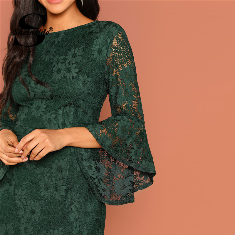 b3eb9b362e Sheinside Green Flounce Sleeve Guipure Lace Dress Elegant Women Bodycon  Party Dresses 2018 New Arrival Ladies Autumn Mini Dress-in Dresses from  Women's ...