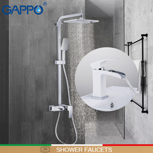GAPPO shower faucet basin faucets chrome and white wall bathroom faucet mixer deck mounted basin sink faucet shower sets chrome deck faucet package wall mounted