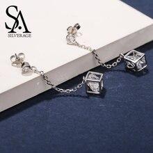 Женские квадратные серьги подвески sa silverage ювелирное изделие