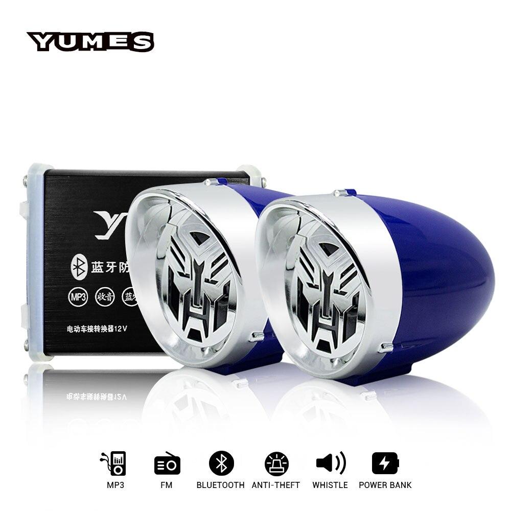 YUMES Motorcycle Speakers System FM Radio FM Audio MP3 Speaker Audio System Alarm Motorbike Anti-Theft 2.5 Motorcycle Horns